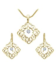 "Vorra Fashion Round Cut White CZ 925 Sterling Silver 14k Gold Plated Fancy Pendant With 18""Chain & Earring Set..."