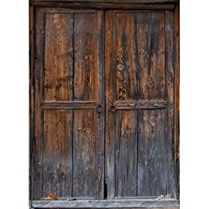 Printed Photography Background Rustic Door Titanium Cloth TC1190 Backdrop 5'x6' Ft (60