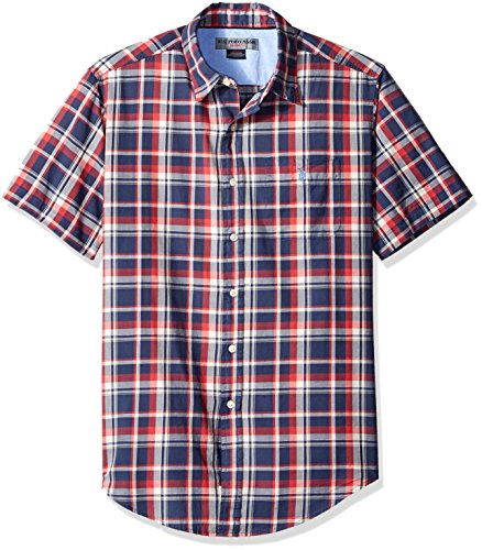 U.S. Polo Assn. Men's Short Sleeve Classic Fit Plaid Poplin Sport Shirt