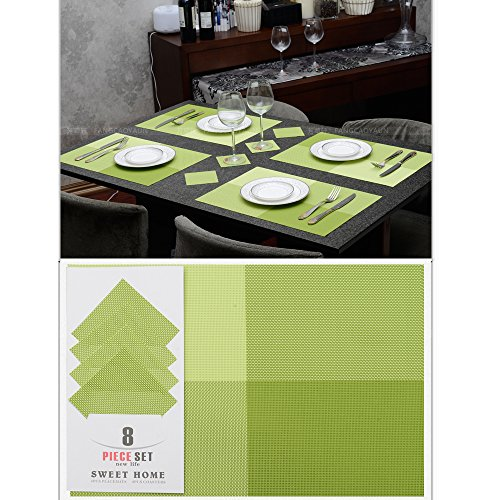 Ihappy Pvc Woven Grid Table Placemats & Cup Coasters Set Of 8, Green