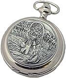 A E Williams 4839 Fishing mens quartz pocket watch with chain