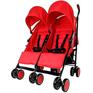Zeta Citi TWIN Stroller Buggy Pushchair - Warm Red Double Stroller by Baby TravelTM