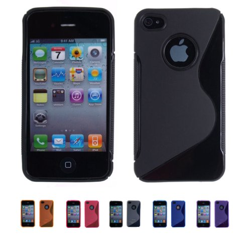 BLACK Apple iPhone 4 ( iPhone 4G, iPhone 4th Generation) 16GB 32GB S-CURVE TPU Transparenet Gel Case Silicone Skin Case Cover + Free Screen Protector (Many Colors Available), BLACK