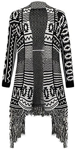 Forever Women's Aztec Diamond Print Knitted Waterfall Cardigan