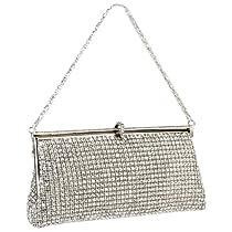 MG Collection Silver Crystal Rhinestones Soft Baguette Evening Clutch Handbag