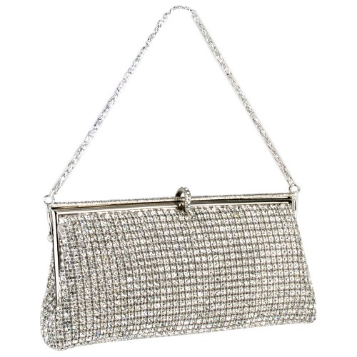 Silver Sophisticated Crystals Rhinestones Clasp Soft Clutch Evening Bag Baguette Handbag Purse w/Detachable Chain