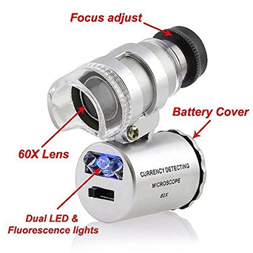 Grow Room Microscope – 60x Handheld Mini Pocket LED Loupe Magnifier – Blue or White light –