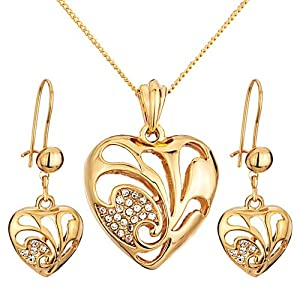 Pugster 3 Pieces of April Birthstone Gold Heart Crystal Pendant Earrings Set Earring