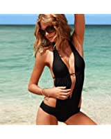 Hot Sale Newest Black Sexy One Piece Hang The Neck Padded Bikini Halter Swimwear Swimsuit (M)