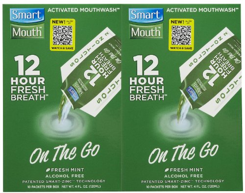 SmartMouth 12 Hour On-the-Go Mouthwash Packets, Fresh Mint 10 ea