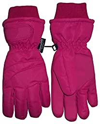 N\'Ice Caps Kids Bulky Thinsulate and Waterproof Ski Glove With Ridges (8-10yrs, Fuchsia)