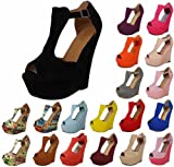 LoudLook New Womens Ladies Faux Suede Platform Peeptoe High Wedge Shoes Sizes 3-8 UK