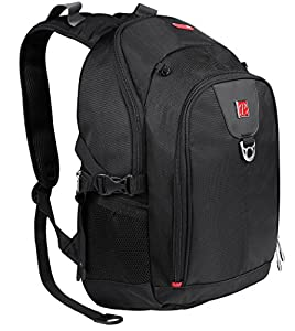 PLEMO Classic Multifunctional Backpack Carry Bag Case for Up to 15.6-Inch Laptop / Notebook Computer / MacBook, Black