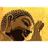 Tallenge - Gautam Buddha With Green Background - A3 Size Rolled Poster