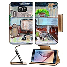 buy Msd Samsung Galaxy S6 Flip Pu Leather Wallet Case Oil Painting My Office On Paper Image 27901070