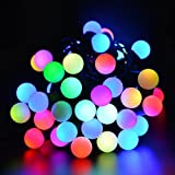 ledertek 50 RGB Ball Slow Changing Color with 16ft Linkable Ball String Lights for Valentine's Day, Christmas, Party, Wedding