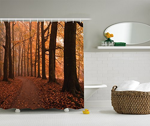 tree-shower-curtain-canopy-decor-by-ambesonne-fall-season-hiking-walkway-and-enchanted-forest-patter