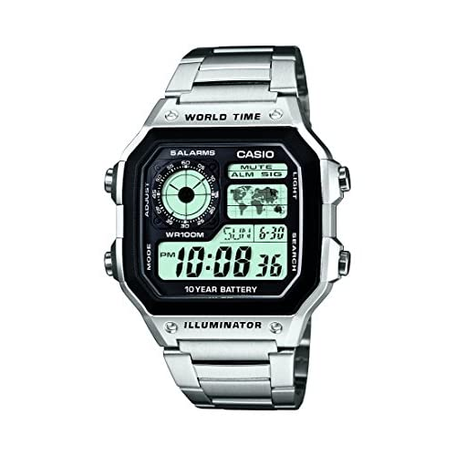 Casio AE-1200WHD-1AVEF Men's Quartz Watch with Grey Dial Analogue - Digital Display and Silver Stainless Steel...