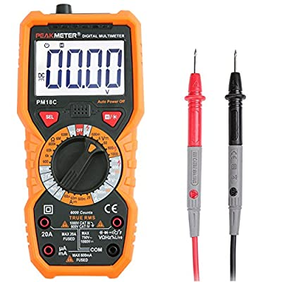 Multimeter, Janisa PM18C AC DC Digital Multimeter Voltage Current Tester Non-contact Voltage Test Temperature Measurement Multi Tester with Backlight LCD for DIY by Janisa