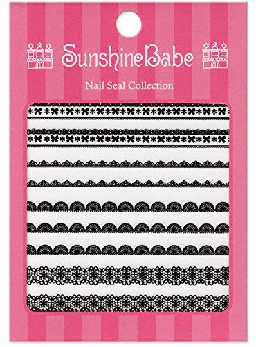 SunshineBabe ネイルシール レースA ブラック