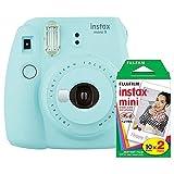 Fujifilm Instax Mini 9 (Ice Blue) Instant Camera with Mini Film Twin Pack (Color: blue)