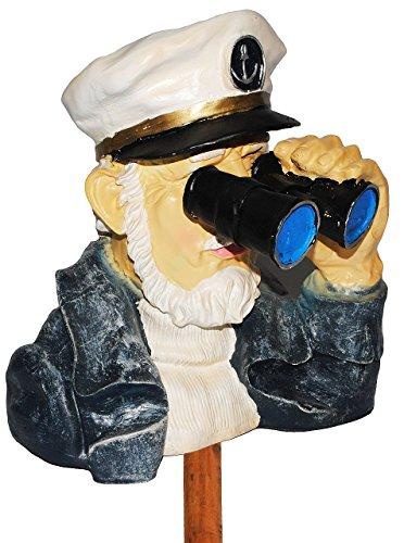 """Kapitän / Seefahrer mit Fernglas - als """" Spanner am Gartenzaun """" - aus Kunstharz - große XL Figur - Maritim - Gartenzwerg / Gartendeko Garten - Nachbar Reisen Urlaub - Schiffsreise Kreuzfahrt / Kreuzfahrtschiff - Schiffe Seemann - Matrose - Hecke - Heckenfigur - Zaun / Zaunfigur"""