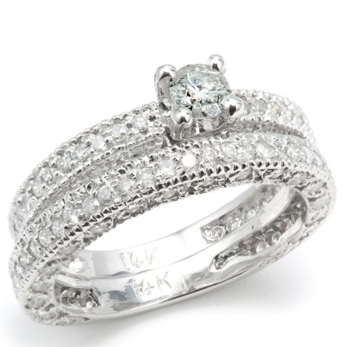 1.45 Carat (ctw) 14k White Gold Round Diamond Ladies Bridal Engagement Ring with Matching Wedding Band Set