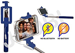 Selfie Stick Monopod With Wired Aux Cable Connectivity Compatible For Lenovo Zuk Z1 Mini -Blue
