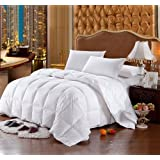 Luxury Bedding's Queen Size Luxurious 1000 Thread Count Siberian GOOSE DOWN Comforter, 100% Egyptian Cotton Cover, Damask Stripe White Color, 750 Fill Power, 50 Oz Fill Weight