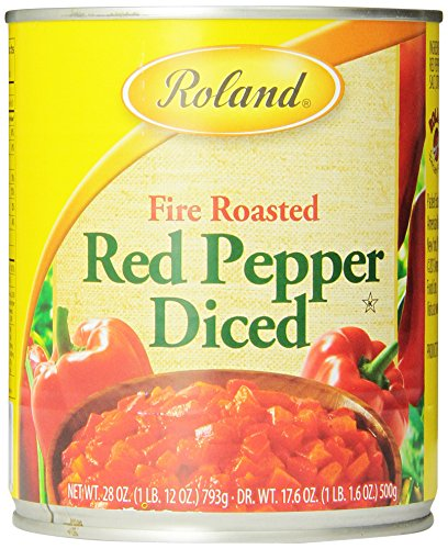 Roland Fire Roasted Peppers, Red Diced, 28 Ounce (Pack of 4) (Roasted Red Peppers In Water compare prices)
