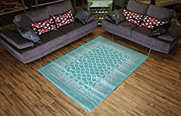 Designer Collection Trellis Lace Design Contemporary Modern Area Rug Rugs 2 Different Color Options (Turquoise Blue, 4\'11\
