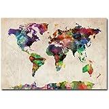 Trademark Fine Art Urban Watercolor World Map by Michael Tompsett Canvas Wall Art, 30x47-Inch