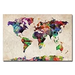 Trademark Fine Art Urban Watercolor World Map by Michael Tompsett Canvas Wall Art, 30x47-Inch