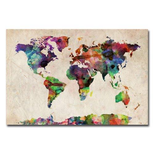 Trademark Fine Art Urban Watercolor World Map by Michael Tompsett Canvas Wall Art, 16x24-Inch by Trademark Fine Art