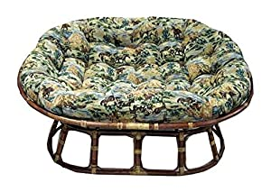 Oval Double Papasan Cushions W Soft Tufted Tapestry Fabric Tap