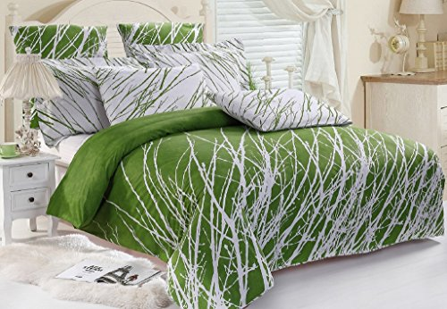 5pc Tree Duvet Cover Set: Duvet Cover, Pillow Shams and Euro Shams (Green-White, Queen)