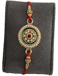 BOGATCHI Ideal Kundan And Pearl Designer Rakhi With FREE Roli Chawal, Rakhi For Brother, Rakhi Gift For Brother...