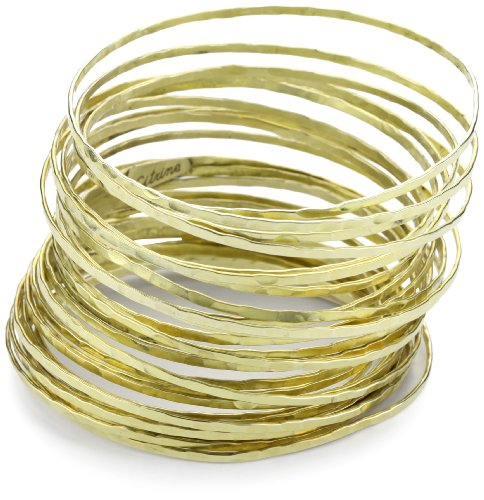 "Citrine by the Stones ""Slinky"" Large Hammered Gold-Plated Wire Bangle"