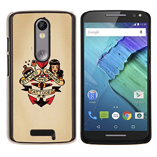 Snap-on Series Plastic Back Case Shell Skin Cover for MOTOROLA Droid Turbo 2 / Moto X Force , ( Pin Up Heart Doll Anchor Woman Tattoo (Pin Up Dolls Tattoos)