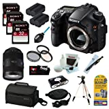 Sony SLTA99V Alpha SLT-A99V A99 SLT-A99 Full-Frame 24.3 MP with 3-Inch LED DSLR Digital Camera + 32GB Class 10 Memory Card + Sony Large System Case + Lithium Ion Replacement Battery + Accessory Kit