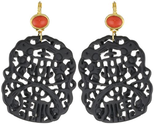 Kenneth Jay Lane Dark Coral and Black Carved Drop Earrings