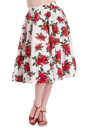 Hell Bunny Women's White Cannes 50s Rockabilly Skirt