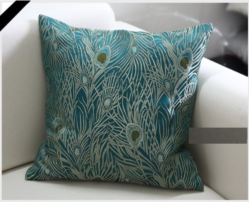Fablegent 18 x 18-Inch Sapphire Blue Peacock Design Elegant Decorative Throw Pillow Cover Home ...