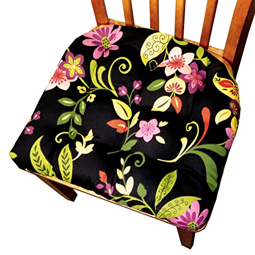Small Patio Chair Cushion - Tessie Black Contemporary Garden Floral - Indoor Outdoor: Mildew Resistant, Fade Resistant - Outdoor Dining Set Chair Pad with Ties - Reversible, Tufted - Outdoor Furniture Replacement Cushion for Patio Armchair image
