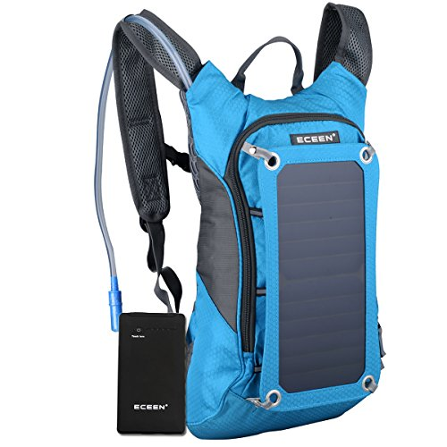 ECEEN Cycling Backpack with 7 Watts Solar Charger and 1.8L Water Pack For Riding and Charging for Mobile Phones, Tablets, Smartphones, etc. 5V Devices, Includes 10,000mAh Waterproof Battery