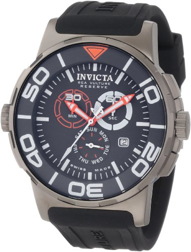 Invicta Men's 1731 Reserve Reserve Chronograph Grey Dial Black Polyurethane Watch