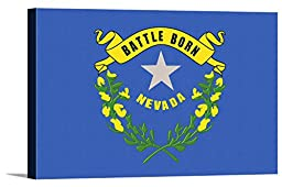 Nevada State Flag - Letterpress (36x24 Gallery Wrapped Stretched Canvas)