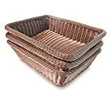 Colorbasket EV02492 Rectangular Thick Trim Storage Basket (Set of 3), Large, Brown