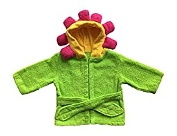 Baby Bathrobe Hooded Towel Flower Green (One Size)