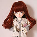 1/6 with 6.3 Inch -6.7 inch High Temperature Synthetic Fiber Beautiful Medium Long Burgundy Curly BJD Doll Hair Wig Wigs with Full Bangs for 1/6 BJD SD Doll(350#) (Color: 350#)